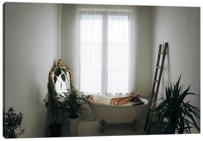 Interior Of Bathroom With Woman Lying In Bath Canvas Art Print