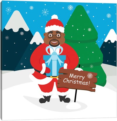 Cute African American Santa Claus With A Gift In Its Hands. Landscape Of Mountains , Forest, Snow Canvas Art Print
