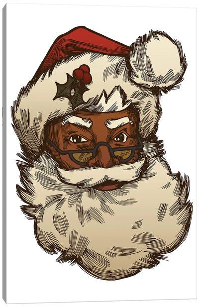 Black Santa Face Wearing Glasses Canvas Art Print