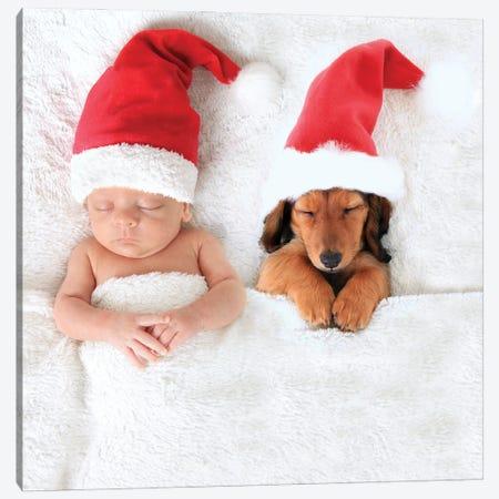 Christmas Baby And Santa Puppy Canvas Print #DPT586} by Hannamariah Art Print