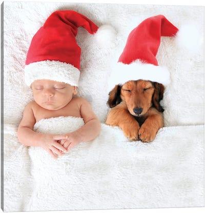 Christmas Baby And Santa Puppy Canvas Art Print