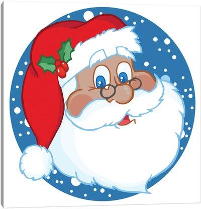 Black Santa Face With Snow Canvas Art Print