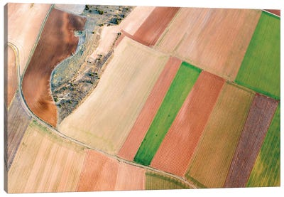Aerial View Of Countryside Field, Spain Canvas Art Print