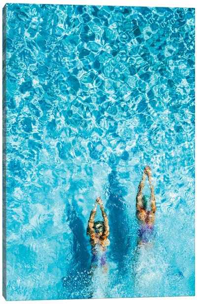 Two Women Is Swimming In A Pool, Seen From Above. She Looks Tiny In The Huge Pool. Canvas Art Print