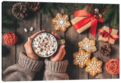 Cropped View Of Woman Holding Cup Of Cocoa With Marshmallows And Gingerbread On Wooden Background With Christmas Gifts Canvas Art Print