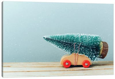 Christmas Tree On Toy Car Canvas Art Print
