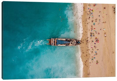 Aerial View From Drone Of Amazing Azure Beach With Rocky Mountains And Clear Turquoise Water Near Greek Island Lefkada. Canvas Art Print