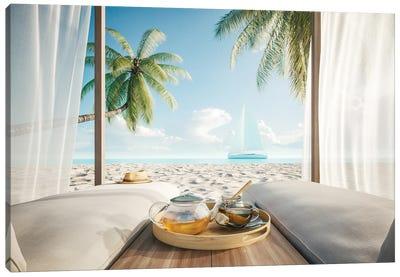 Comfortable Lounge Canopy On Vip Beach Seascape Canvas Art Print
