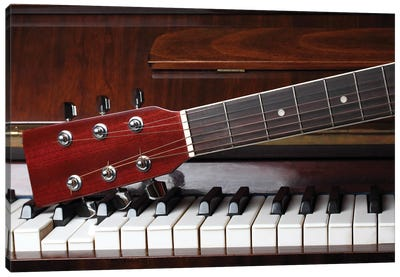 Guitar Neck On Old Piano Keys Canvas Art Print