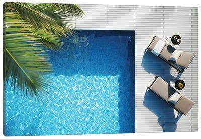 Lounge Chair On Terrace Near Swimming Pool Canvas Art Print