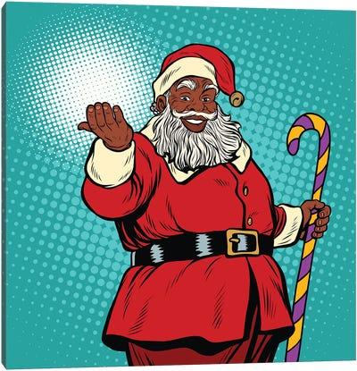 African American Black Santa Claus Canvas Art Print