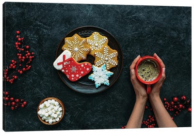 Hands With Christmas Gingerbreads And Coffee Canvas Art Print