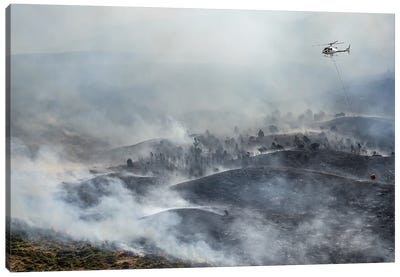 Firefighting Helicopter Drop Water On Forest Fire Canvas Art Print