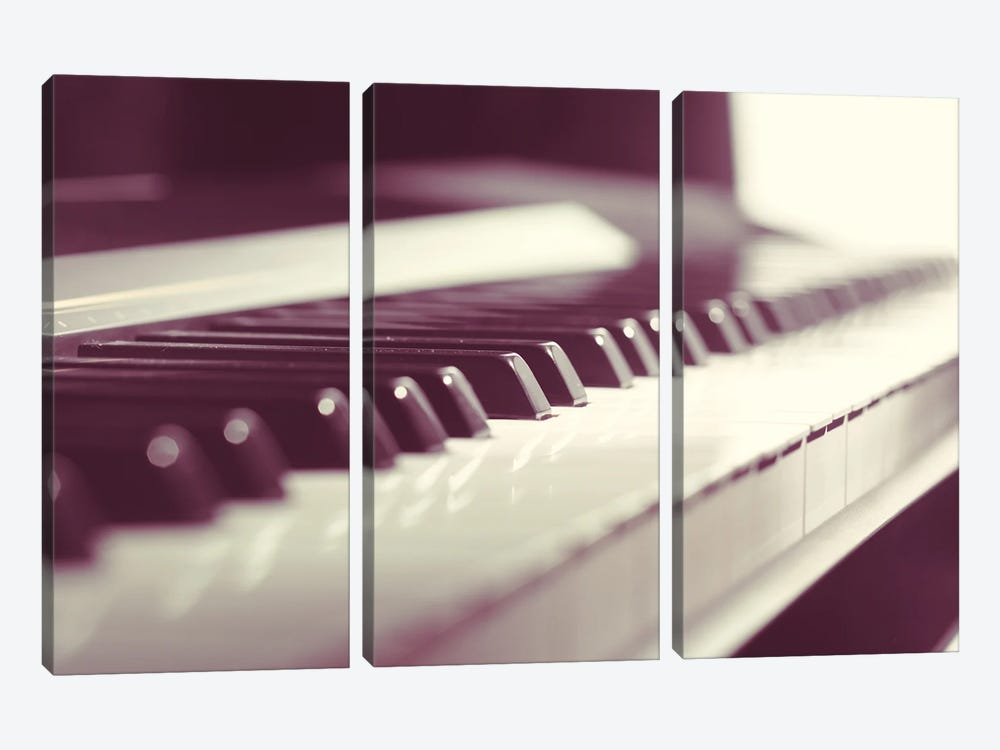 Classic Piano Keyboard Close Up by Fotofabrika 3-piece Canvas Artwork