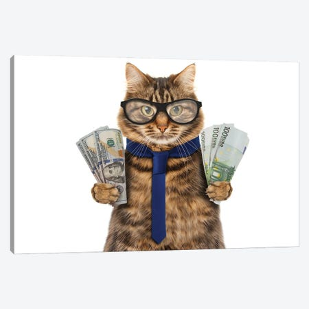 Funny Cat Is Holding Cash Canvas Print #DPT62} by funny cats Canvas Wall Art