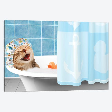 Funny Cat Is Taking A Bath With Toy Duck. Canvas Print #DPT64} by funny cats Art Print