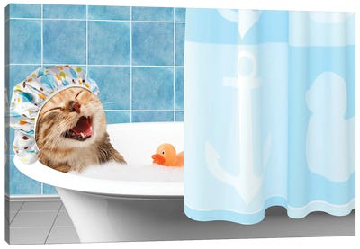 Funny Cat Is Taking A Bath With Toy Duck. Canvas Art Print