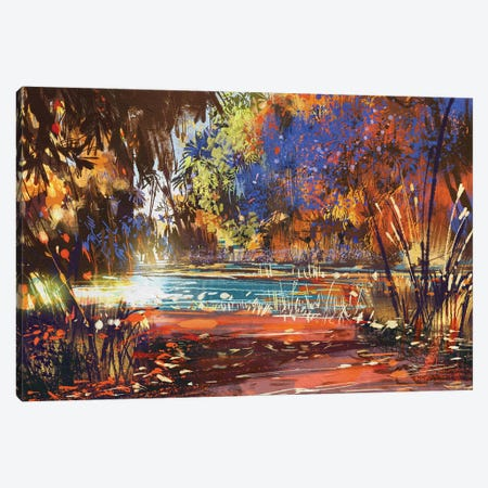 Beautiful Autumn Landscape With Flowers And Lake Canvas Print #DPT68} by grandfailure Canvas Wall Art