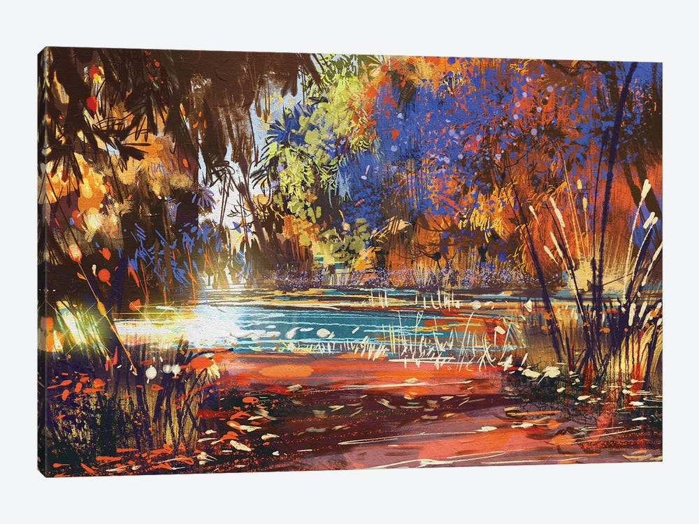 Beautiful Autumn Landscape With Flowers And Lake by grandfailure 1-piece Art Print