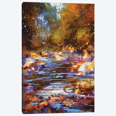 Beautiful Fall River Lines With Colorful Stones In Autumn Forest Canvas Print #DPT69} by grandfailure Canvas Art
