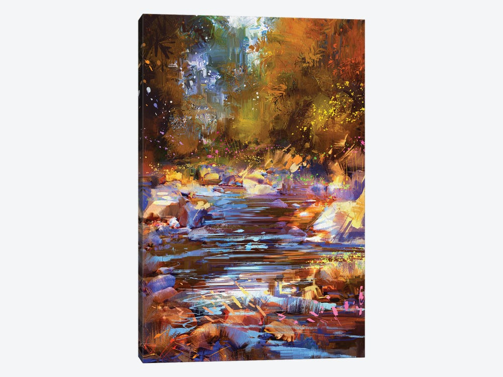 Beautiful Fall River Lines With Colorful Stones In Autumn Forest by grandfailure 1-piece Canvas Wall Art