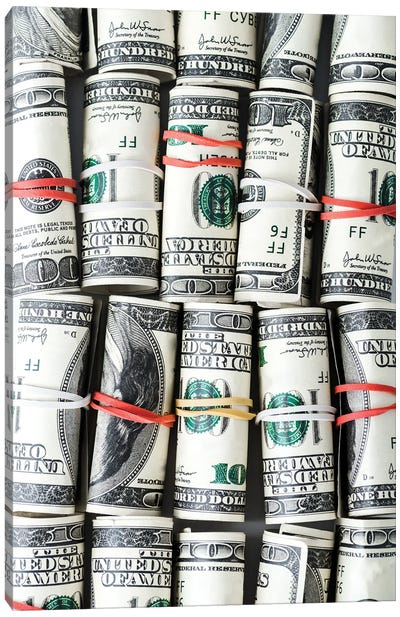 Rolls Of Cash With Colorful Rubber Bands Canvas Art Print