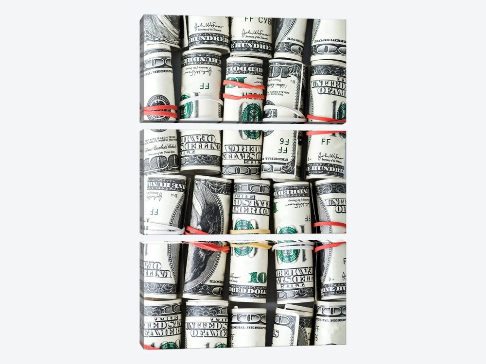 Rolls Of Cash With Colorful Rubber Bands by AndrewLozovyi 3-piece Canvas Wall Art