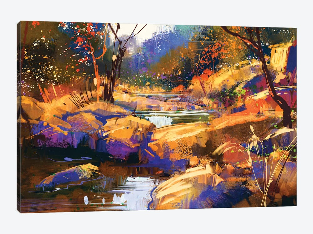 Beautiful Fall River Lines With Colorful Stones In Autumn Forest by grandfailure 1-piece Canvas Artwork