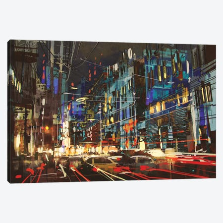City Street At Night With Colorful Lights. Canvas Print #DPT71} by grandfailure Canvas Print