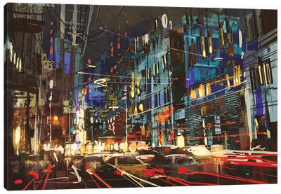 City Street At Night With Colorful Lights. Canvas Art Print