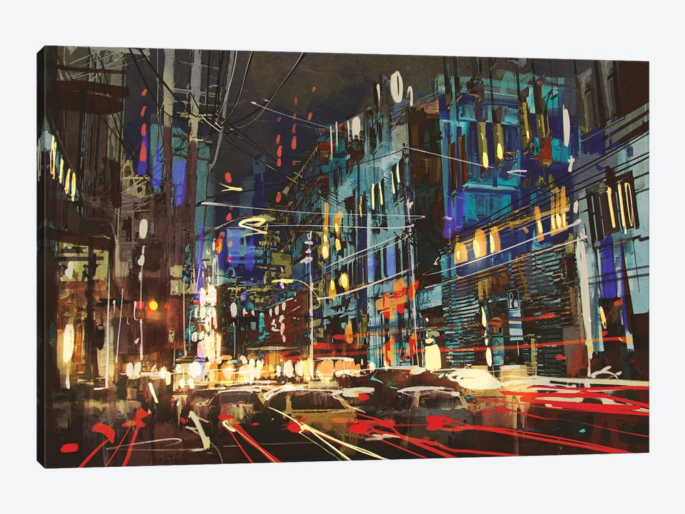 City Street At Night With Colorful Lights. by grandfailure 1-piece Art Print