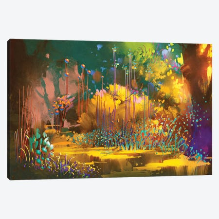 Fantasy Forest With Colorful Plants And Flowers Canvas Print #DPT72} by grandfailure Canvas Print