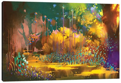 Fantasy Forest With Colorful Plants And Flowers Canvas Art Print