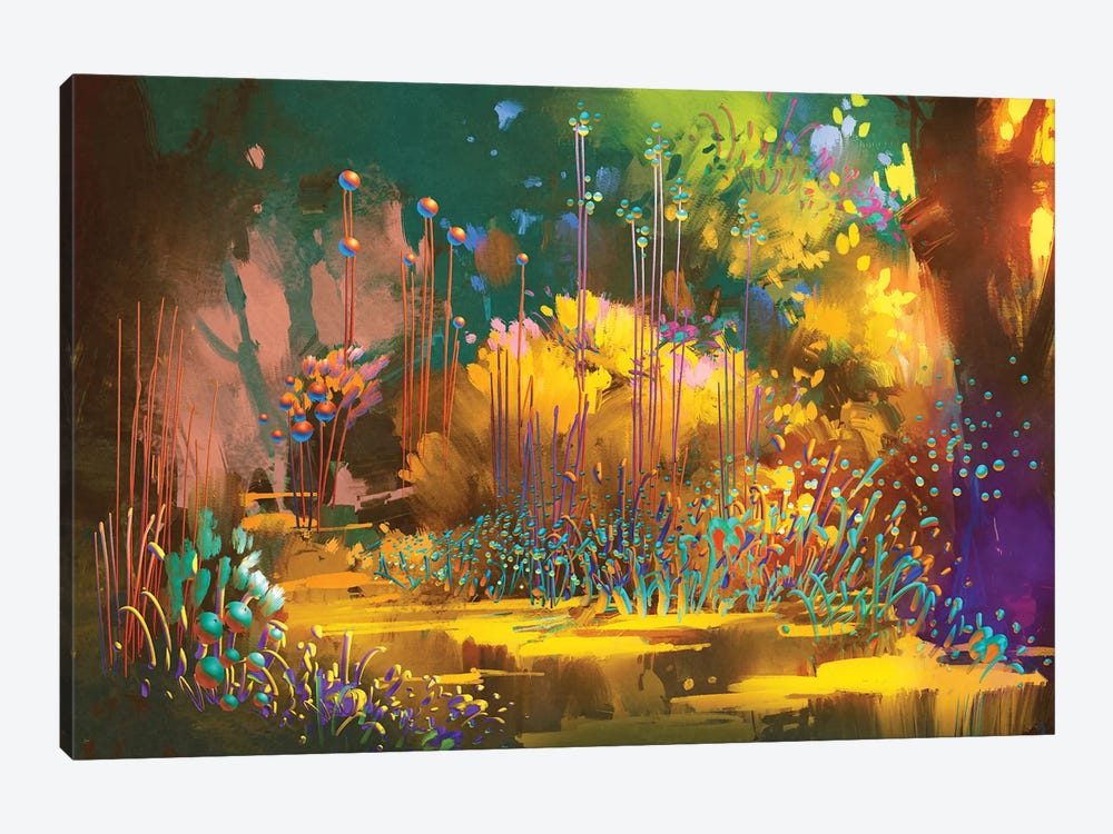 Fantasy Forest With Colorful Plants And Flowers by grandfailure 1-piece Canvas Art