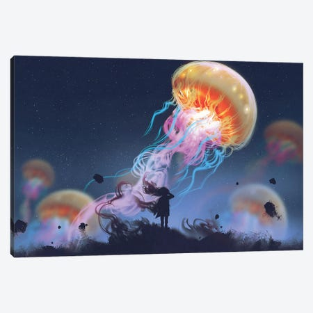 Girl Looking At Giant Jellyfish Floating In The Sky Canvas Print #DPT73} by grandfailure Art Print