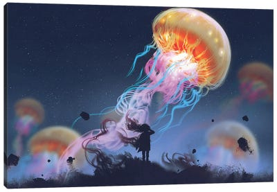 Girl Looking At Giant Jellyfish Floating In The Sky Canvas Art Print
