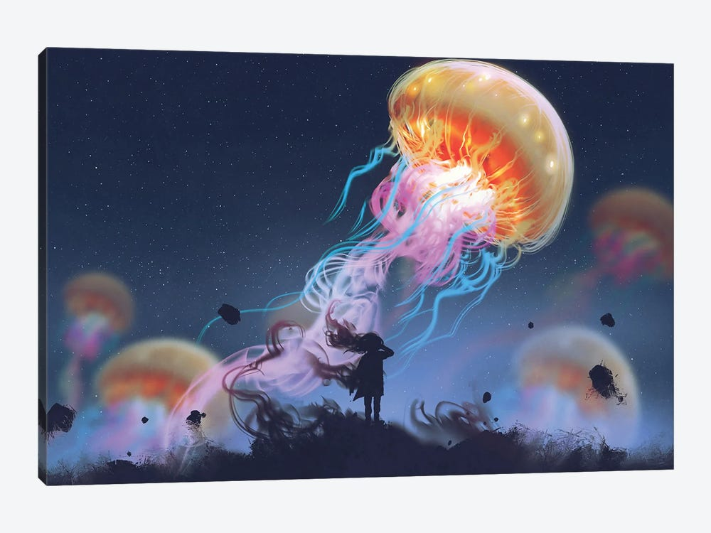 Girl Looking At Giant Jellyfish Floating In The Sky by grandfailure 1-piece Art Print