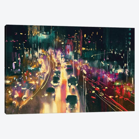 Light Trails On The Street At Night Canvas Print #DPT75} by grandfailure Canvas Wall Art