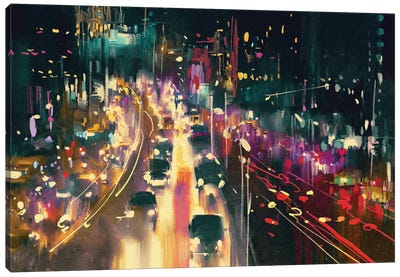 Light Trails On The Street At Night Canvas Art Print