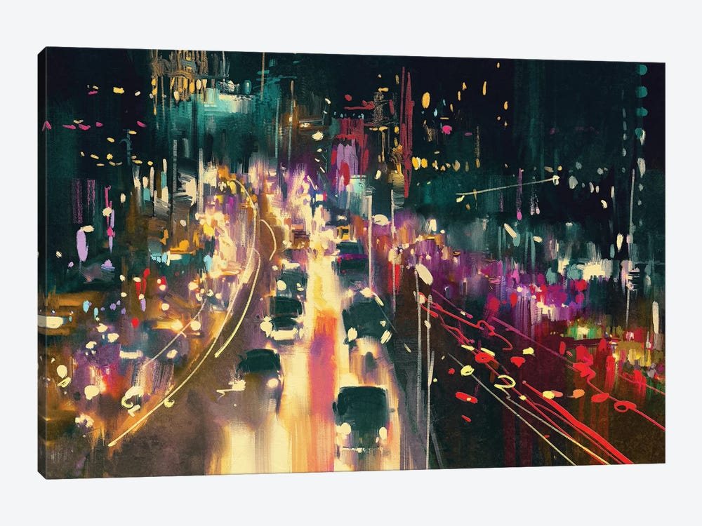 Light Trails On The Street At Night by grandfailure 1-piece Canvas Art Print