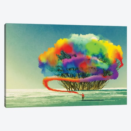 Man Draws Abstract Tree With Colorful Smoke Flare Canvas Print #DPT76} by grandfailure Canvas Wall Art