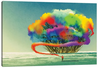 Man Draws Abstract Tree With Colorful Smoke Flare Canvas Art Print