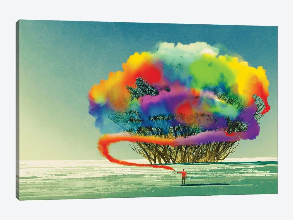 Man Draws Abstract Tree With Colorful Smoke Flare by grandfailure 1-piece Canvas Wall Art