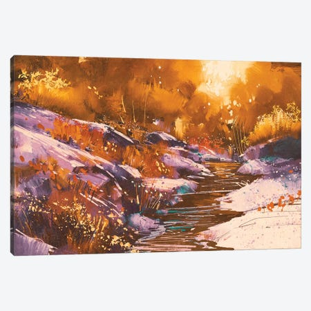 River Lines With Stones In Autumn Forest Canvas Print #DPT77} by grandfailure Canvas Wall Art