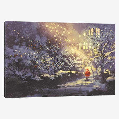 Santa Claus In Snowy Winter Alley In The Park Canvas Print #DPT79} by grandfailure Canvas Art Print