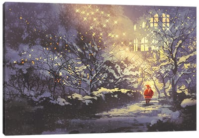 Santa Claus In Snowy Winter Alley In The Park Canvas Art Print