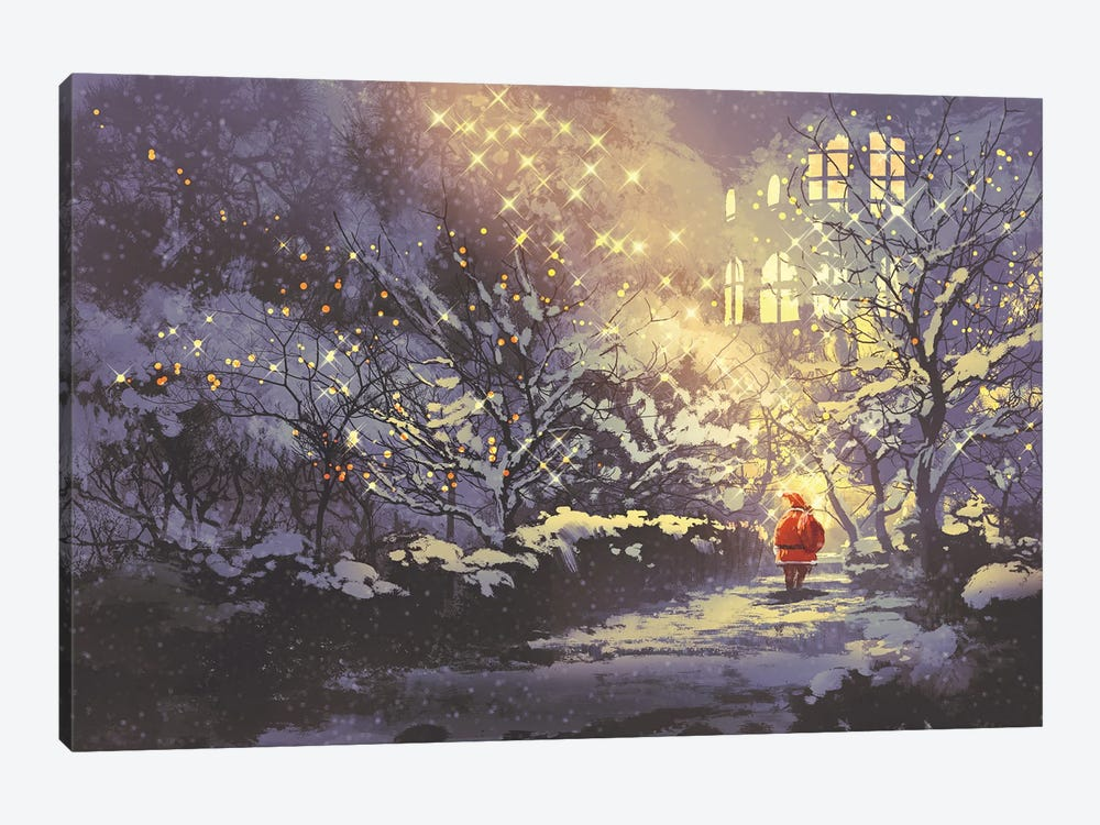 Santa Claus In Snowy Winter Alley In The Park by grandfailure 1-piece Canvas Print