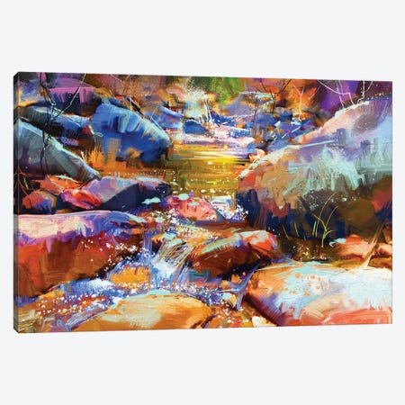 Waterfall With Colorful Stones Canvas Print #DPT80} by grandfailure Canvas Wall Art
