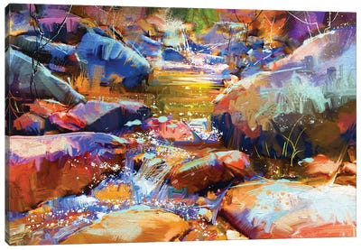 Waterfall With Colorful Stones Canvas Art Print