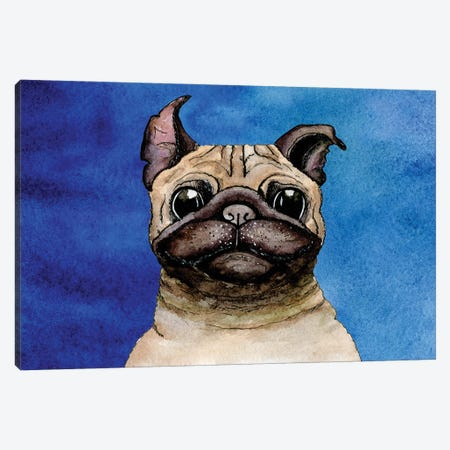 Bulldog On A Blue Background Canvas Print #DPT81} by gum92 Canvas Art